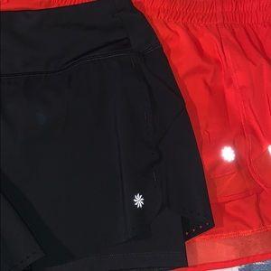 Athleta Black/Orange Shorts Bundle
